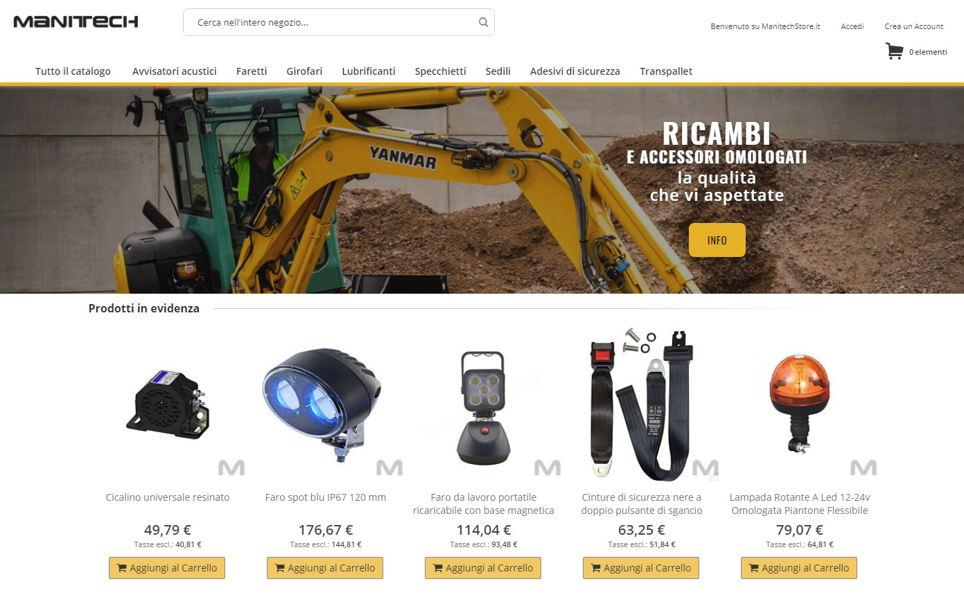 Un nuovo ecommerce per ricambi macchine industriali: Manitech Store